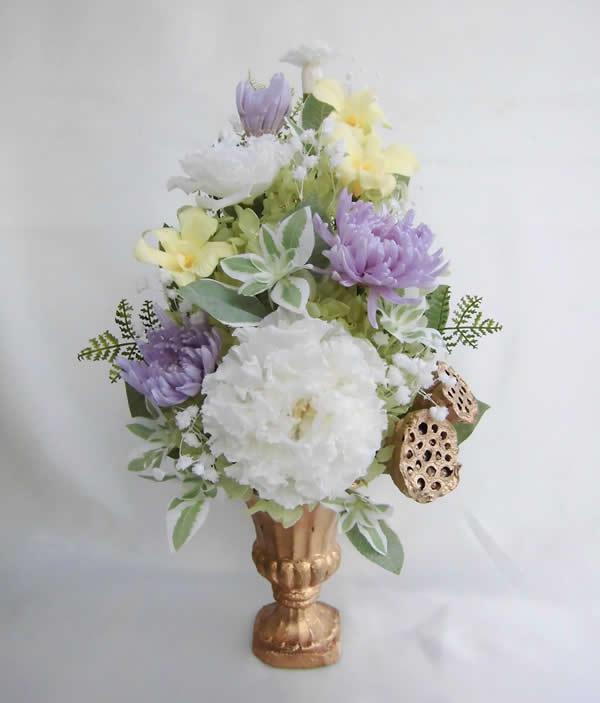 花器付き仏花 大輪のトルコキキョウと藤色の菊 プリザーブドフラワー [PW]