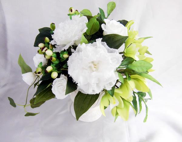八重咲のトルコキキョウとグリーンの蘭 プリザーブドフラワー [PW]