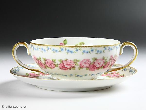 【リモージュ】GDA ピンク薔薇&ブルー小花 ダブルハンドルカップ&ソーサー