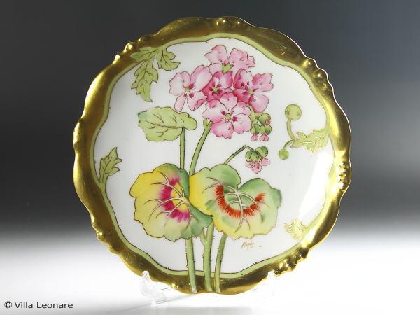 【リモージュ】エリートワークス ピンクの花模様 プレート(21.3cm)