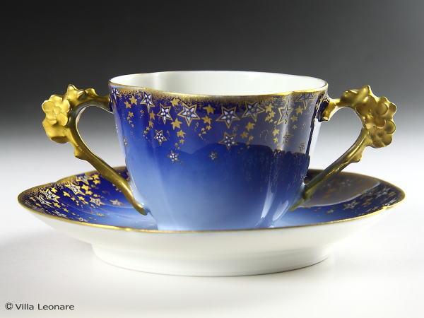 【リモージュ】W・GUERIN&Co コバルトブルー 金彩の星模様 カップ&ソーサー(ダブルハンドル)