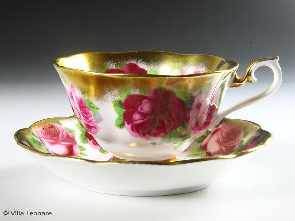 【ロイヤル アルバート】ピンク薔薇&豪華金彩 (トレジャーチェストシリーズ)  カップ&ソーサー