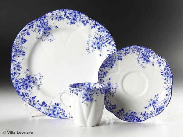 【シェリー】デインティー ブルー カップ&ソーサー(デミタス)&プレート トリオセット