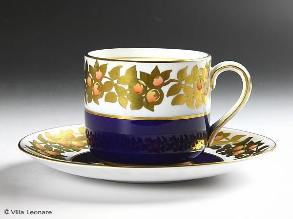 【ティファニー】英国グロスベナー社 コバルトブルー&金彩 カップ&ソーサー