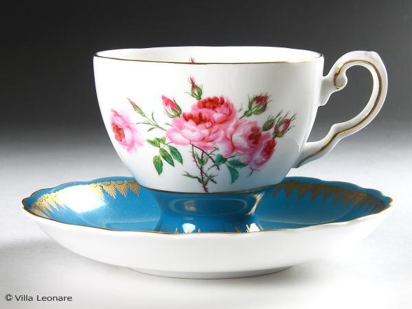 【タスカン】【ロイヤル タスカン】ターコイズブルー&金彩 ピンク薔薇 カップ&ソーサー