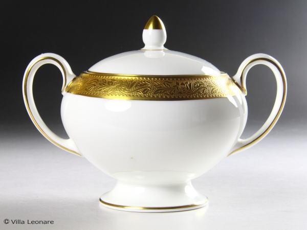 英国WEDGWOOD! 金彩装飾が美しい高級シリーズ!   【ウエッジウッド】アスコット シュガーポット(蓋付)