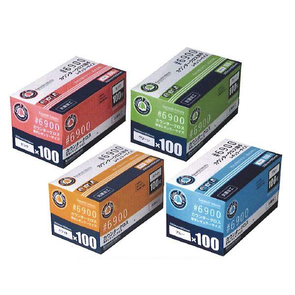 【送料無料】川西工業【KAWANISHI】作業用品/ふきん 6900 カウンタークロス薄手 レギュラーサイズ(ホワイト・ブルー・ピンク・グリーン)100枚入×12セット