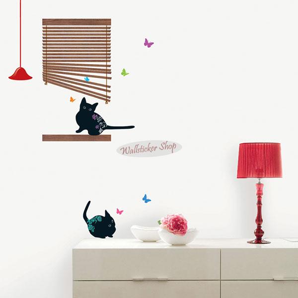 ウォールステッカーでお部屋が大変身 当店限定販売 魔法のウォールステッカー ウォールステッカー 猫 壁シール 壁紙シール 02P05Nov16 北欧 sticker 新登場 wall 2匹のクロネコ