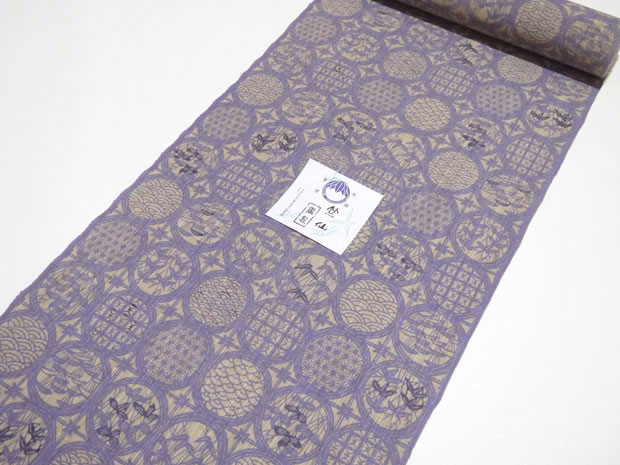 <本格派レディースゆかた>別注品 日本橋 竺仙鑑製 紫系 松煙染小紋 女性用 高級浴衣【お仕立代込み&送料無料】日本製 ちくせん 反物 綿100% ※仕立ての段階に入ってからのキャンセル等はお断り致します。※反物での販売も行なっております。
