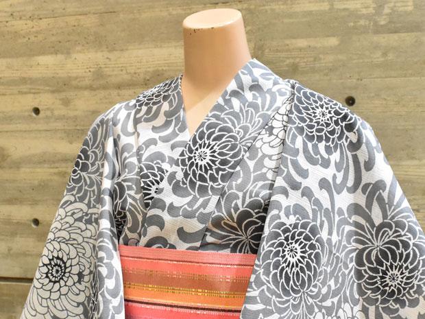 <本格派レディースゆかた>日本橋 竺仙鑑製 綿絽白地 注染 女性用 高級浴衣【お仕立代込み&送料無料】日本製 ちくせん 反物 白色 乱菊 綿100% ※仕立ての段階に入ってからのキャンセル等はお断り致します。※反物での販売も行なっております。