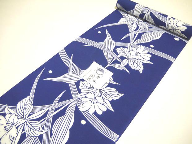 <本格派レディースゆかた>日本橋 竺仙鑑製 コーマ地染 納戸色 注染 女性用 高級浴衣【お仕立代込み&送料無料】日本製 綿100% ちくせん ※仕立ての段階に入ってからのキャンセル等はお断り致します。※反物での販売も行なっております。