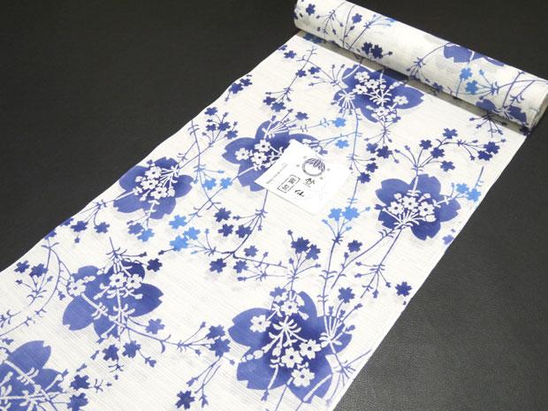 <本格派レディースゆかた>日本橋 竺仙鑑製 綿絽白地 注染 女性用 高級浴衣【お仕立代込み&送料無料】日本製 ちくせん 反物 綿100% ※仕立ての段階に入ってからのキャンセル等はお断り致します。※反物での販売も行なっております。白地 白色