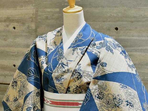 <本格派レディースゆかた><奥州小紋>日本橋 竺仙鑑製 女性用 高級浴衣【お仕立代込み&送料無料】色紙取り ちくせん 綿100% 日本製 仕立ての段階に入ってからのキャンセル等はお断りします。反物での販売も行なっています。