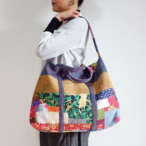 カンタ刺繍 2ウェイバッグ トートバッグ ショルダーバッグ インドの刺し子布 ラリーキルト 肩掛けバッグ
