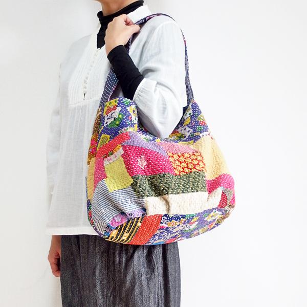カンタ刺繍 ショルダーバッグ インドの刺し子布 ラリーキルト 肩掛けバッグ