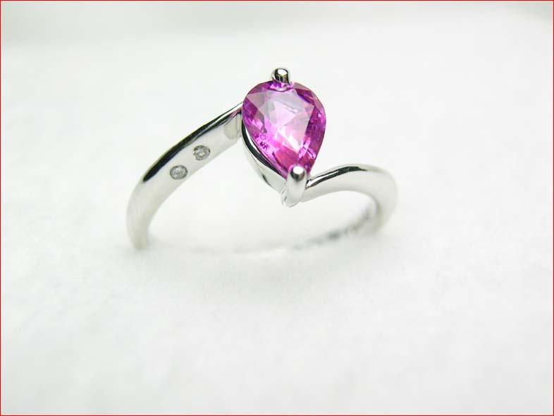 プラチナ ピンクサファイア ダイヤモンドリング  10P03Aug09