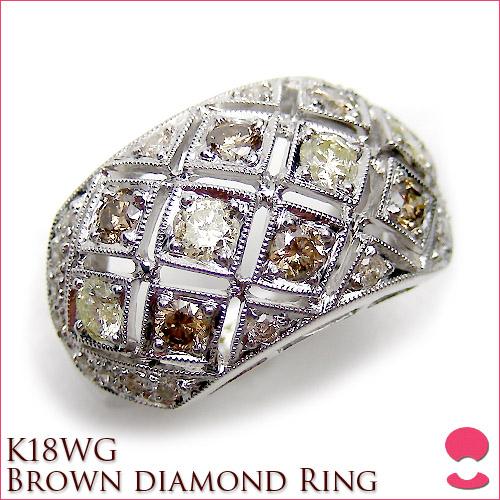 K18ホワイトゴールド ブラウンダイヤリング 10P20Feb09