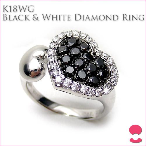 K18ホワイトゴールド ブラック&ホワイト ダイヤモンドリング