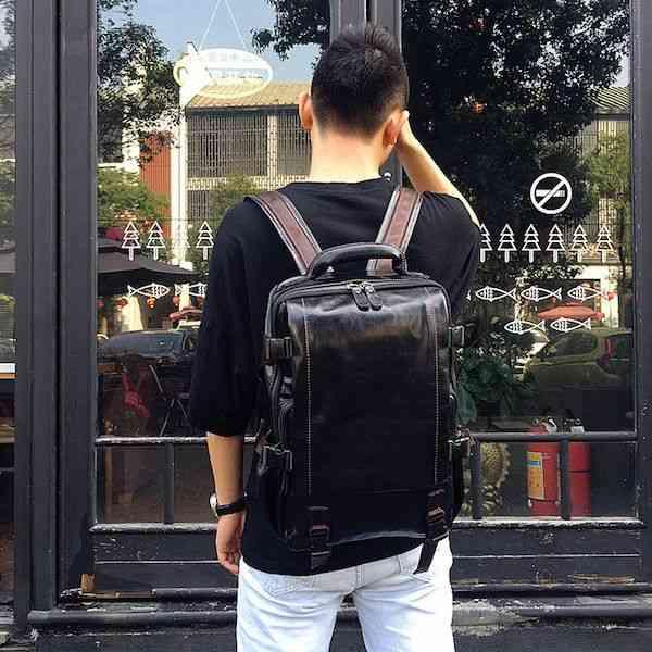 リュックサック リュック レザー 本革 メンズ 軽量 大容量 カジュアル 旅行 通学 通勤 キャンパス 黒 バック カバン 鞄 かばんbag bag-1135