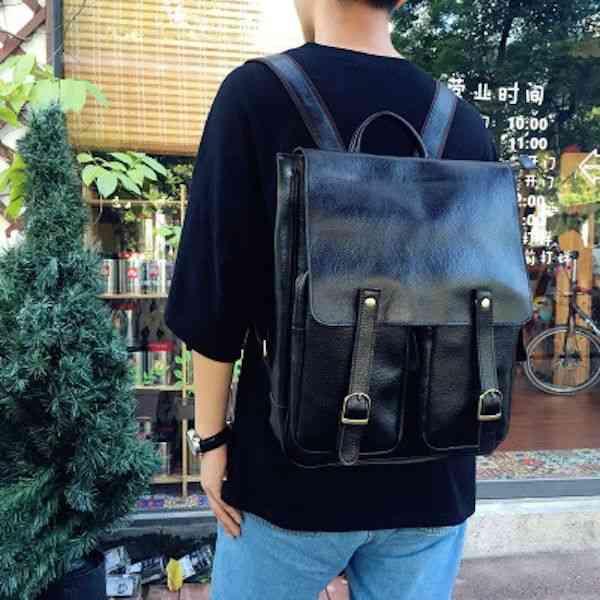 リュックサック リュック レザー 本革 メンズ 軽量 大容量 旅行 カジュアル 通学 通勤 キャンパス 黒 バック カバン 鞄 かばんbag bag-1137