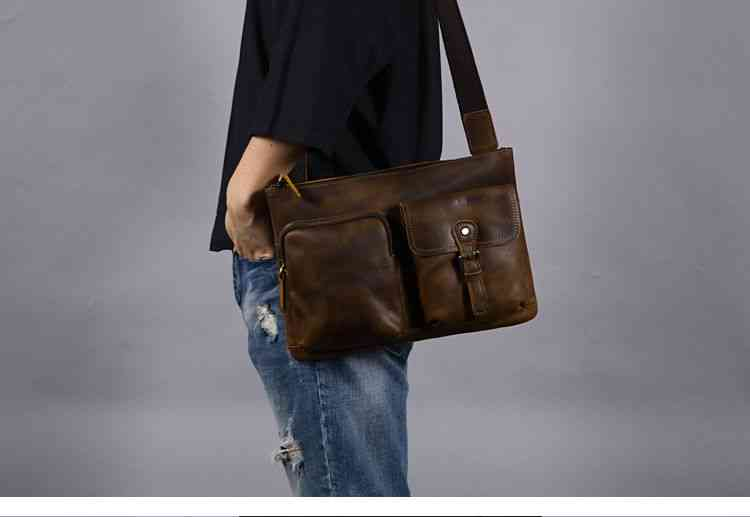 ショルダーバッグ 本革 メッセンジャーバッグ 斜めがけバッグ メンズ レザー カジュアル 通学 通勤 軽量 旅行 斜め掛け 黒 バック カバン 鞄 bag-1149