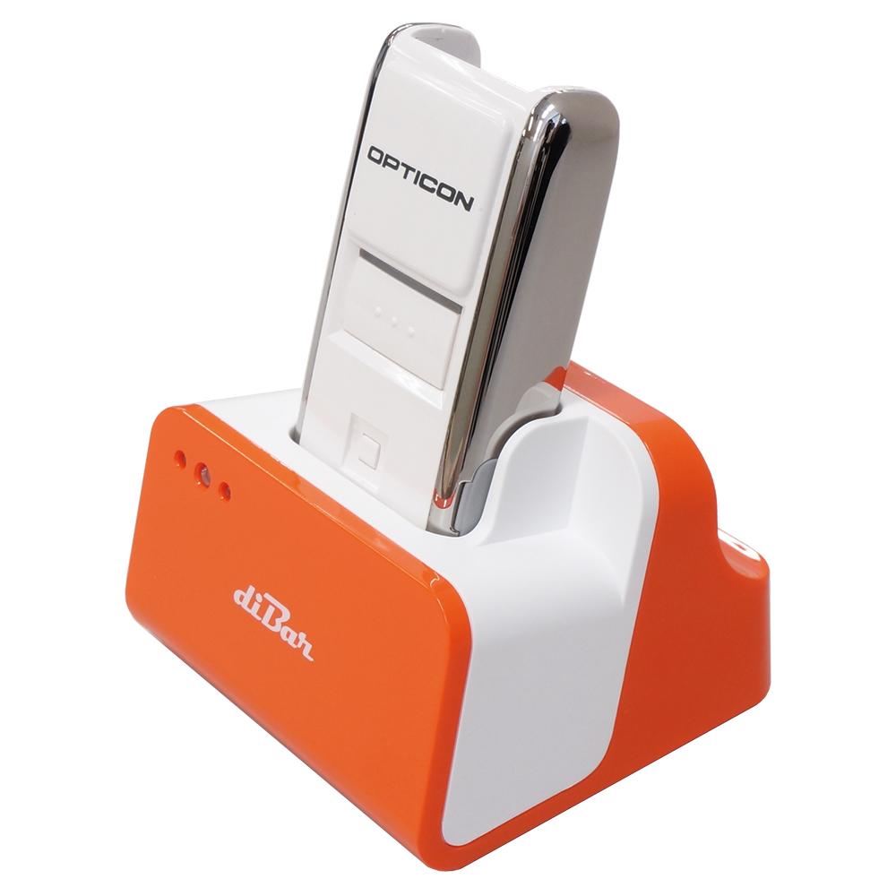 【特価 訳あり】【セット販売】無線バーコードデータコレクター(OPN-2002i) + USBハブ機能搭載充電クレードル オレンジ(diBar coolCradle Orange)レーザースキャナー OPTO ダイバー diBar ウェルコムデザイン