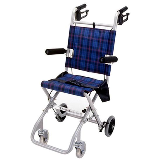 マキテック コンパクト車椅子 のっぴー NP-001BL|軽量 コンパクト 携帯 簡易 旅行用 折りたたみ 専用バッグ付