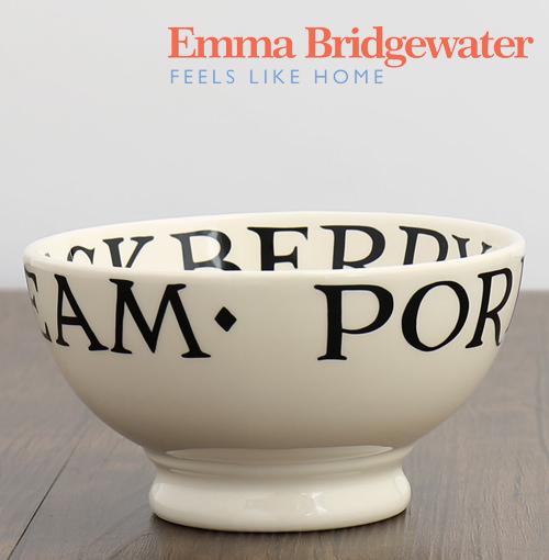 エマブリッジウォーター Emma Bridgewater フレンチ ボウル 足つき 皿 おしゃれ ブラック トースト 英字 13.5cm 陶器 英国製 ブランド プレゼント 茶碗 デザート プレゼント ギフト 新生活 新居 引越し祝い 新築