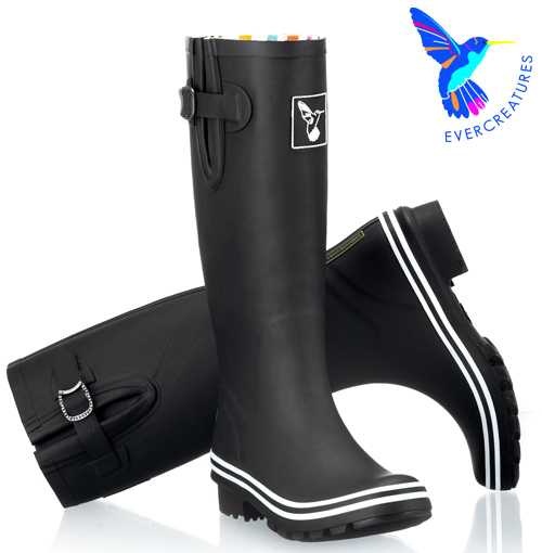レインブーツ 長靴 ブラック Evercreatures エバークリエイチャー レディース 黒 無地 UKデザイン 女性用 新生活 新居 引越し祝い 新築 子供