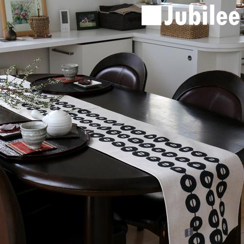 テーブルランナー 北欧 ブラック コネクト Jubilee 英国デザイン 183×30 ハンドメイド 麻 リネン 撥水 新生活 新居 引越し祝い 新築 子供