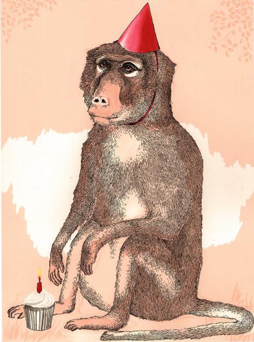 ジムボバート Jimbobart A4 アートプリント Birthday Baboon 250枚限定 直筆サイン入り 絵画 インテリア おしゃれ 北欧 プレゼント ギフト 新生活 新居 引越し祝い 新築 子供