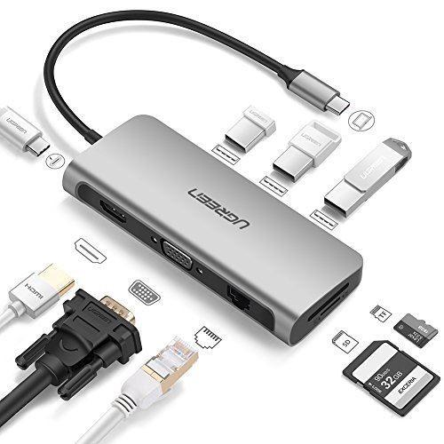 USB Cハブ Thunderbolt3 ドック USBハブ 60W PD対応 4K出力 HDMI VGA USB3.0ポートx3 SD/MicroSDカード 有線LAN(1000Mbps)MacBook Pro, Dell XPS,Huawei Matebookなどに適用