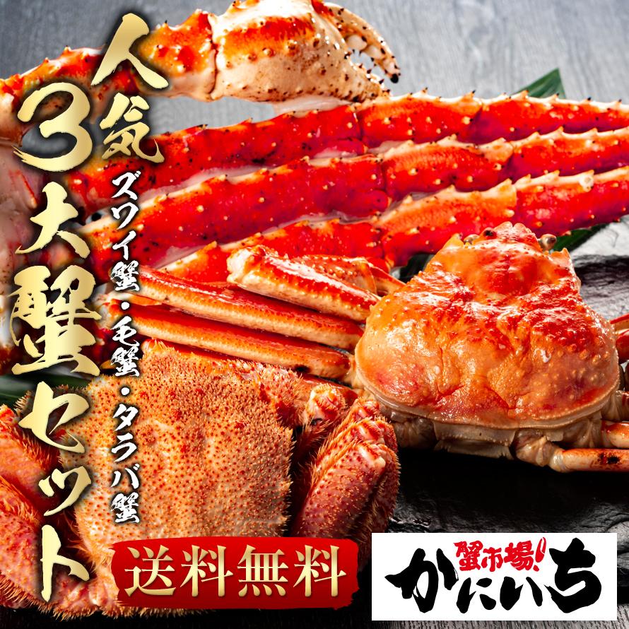 人気3大蟹 DAI3 セット ズワイガニ姿 (約570g) 特大毛ガニ (約450g) 特大タラバガニ (5L肩 約900g) ズワイ蟹 かに カニ 毛がに たらば 蟹市場 かにいち 贈り物 お中元 ギフト かにいち