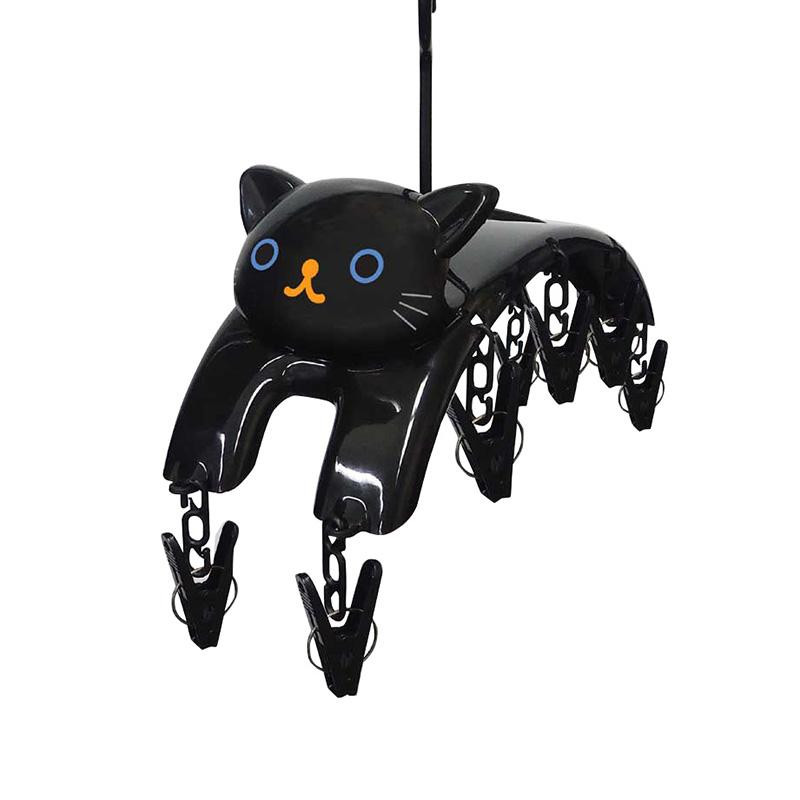 ねこが空を飛んでいるようなデザインの洗濯ばさみハンガーです 洗濯 猫 5☆大好評 ネコ 正規販売店 黒猫 ME09 クロ 洗濯バサミ ねこの洗濯ばさみハンガー
