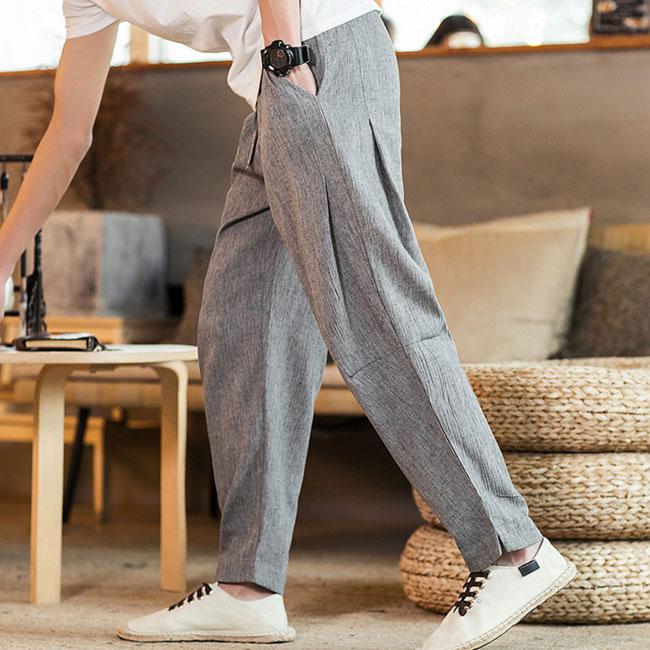 アンクルパンツ メンズ ストレッチ 綿 麻 ボトムス 綿麻素材 リラックス 男性 登場大人気アイテム パンツ クロップドパンツ 定番スタイル ズボン 綿麻
