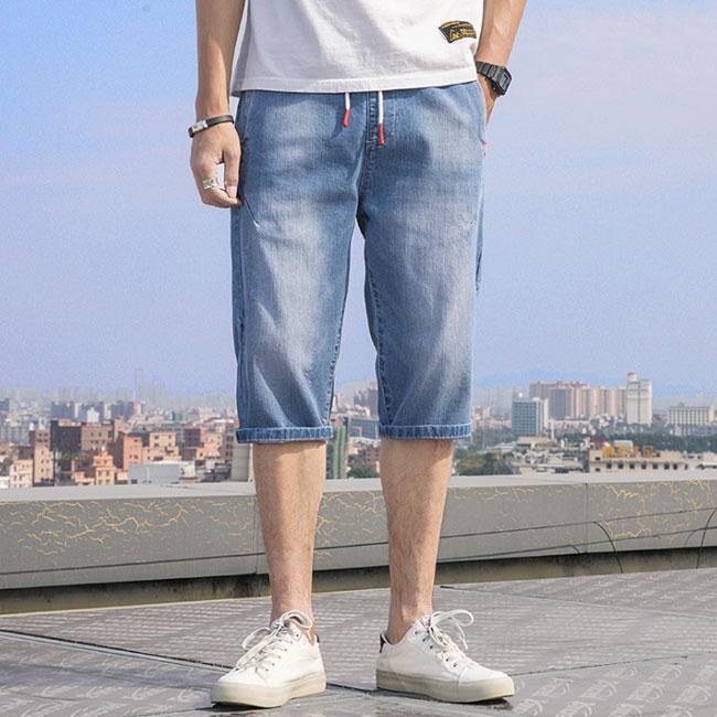 ジーンズデニム メンズ ハーフパンツ インディゴ 大幅値下げランキング ダメージ 膝上 日本全国 送料無料 パッチワーク ストレッチ ショートパンツ 短パン