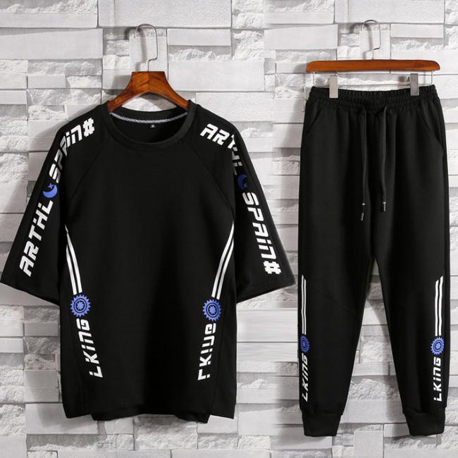 上下セット メンズ ジャージ SEAL限定商品 半袖Tシャツ パンツ 英字柄 スポーツウェア ルームウェア 割引も実施中 夏服 新作 セットアップ