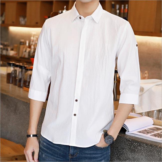 シャツ 贈答品 メンズ 七分袖 無地 驚きの値段で ワイシャツ カジュアルシャツ トップス 通勤 夏 薄手 サマー 開襟シャツ