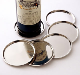 NEW Set of 4 Table Wine Bottle Coaster Stainless Steel