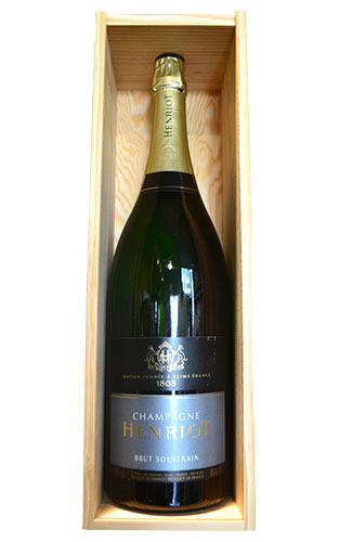 【大型ボトル】アンリオ シャンパーニュ ブリュット スーヴェラン ジェロボアム 大型特大瓶 3000ml 3L 正規代理店輸入品 AOCシャンパーニュ 箱付 (箱入) ギフトHENRIOT Champagne Brut Souverain Jeroboam 3,000ml Wooden Box (HENRIOT) AOC Champagne
