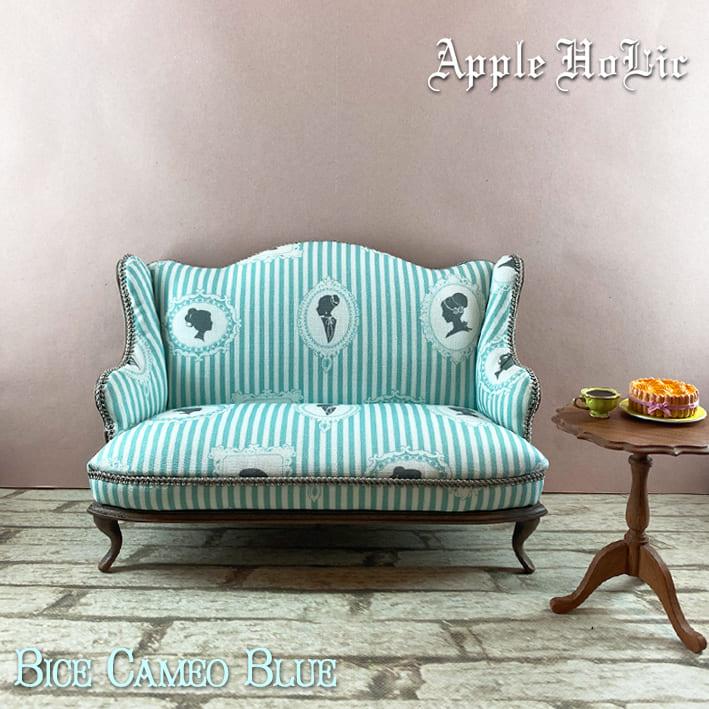 ドール チェア【Bice Cameo Blue・ビーチェ カメオ ブルー】ブライス サイズ 1/6 ドール用 二人掛けソファ 椅子