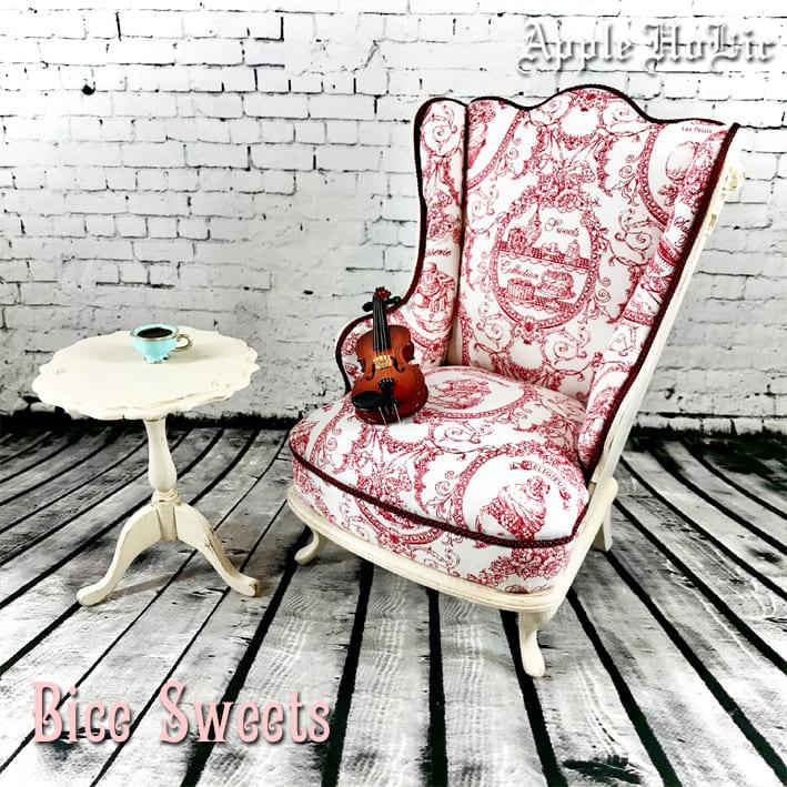 ドール チェア【Bice Sweets Red・ビーチェ スイーツ レッド】ブライス サイズ 1/6 ドール用 椅子