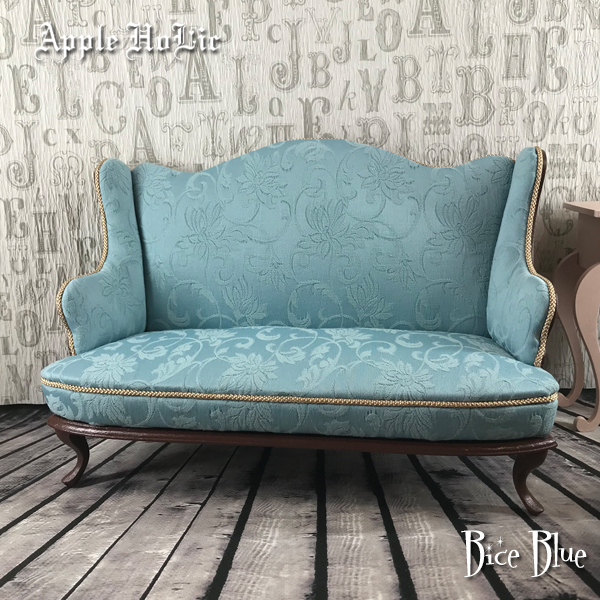 ドール チェア【Bice Blue・ビーチェ ブルー】ブライス サイズ 1/6 ドール用 二人掛けソファ 椅子