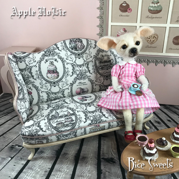 ドール チェア【Bice Sweets・ビーチェ スイーツ】ブライス サイズ 1/6 ドール用 二人掛けソファ 椅子