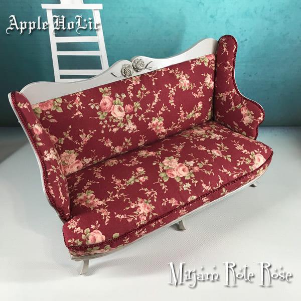 ドール チェア【Mirijam Rote Roze・ミリヤム ローテローゼ 】ブライス サイズ 1/6 ドール用 二人掛けソファ 椅子