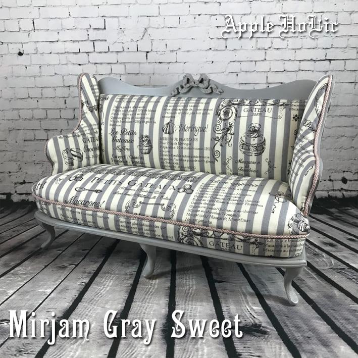 ドール チェア【Mirijam Gray Sweet・ミリヤム グレー スイート】ブライス サイズ 1/6 ドール用 二人掛けソファ 椅子