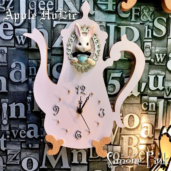 ウォールクロック【Simone Pink Clock・ジモーネ ピンク】インテリア 雑貨 うさぎ