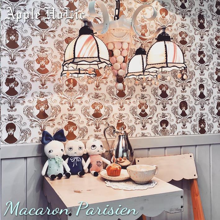 シャンデリア 【Macaron Parisien Rose・マカロンパリジャン ロゼ】 LED対応 スイーツ 4灯 ペンダントライト ステンドグラス ランプ