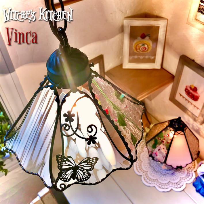 ペンダントライト 【Madame Vinca・マダム ビンカ】 LED対応 フラワー ステンドグラス ランプ