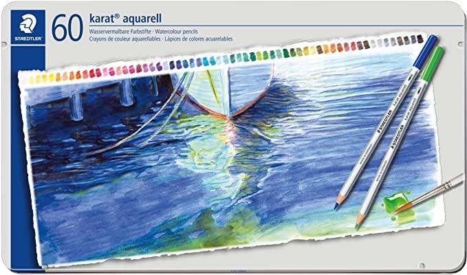 STAEDTLER水彩色鉛筆 なめらかな書き味と鮮やかな発色を合わせ持ち 水彩色鉛筆独特の優しい表現が可能 高級色鉛筆 描画用 水彩色鉛筆 大人気 カラト 時間指定不可 125 アクェレル水彩色鉛筆 M60ステッドラー 60色セットSTAEDTLER